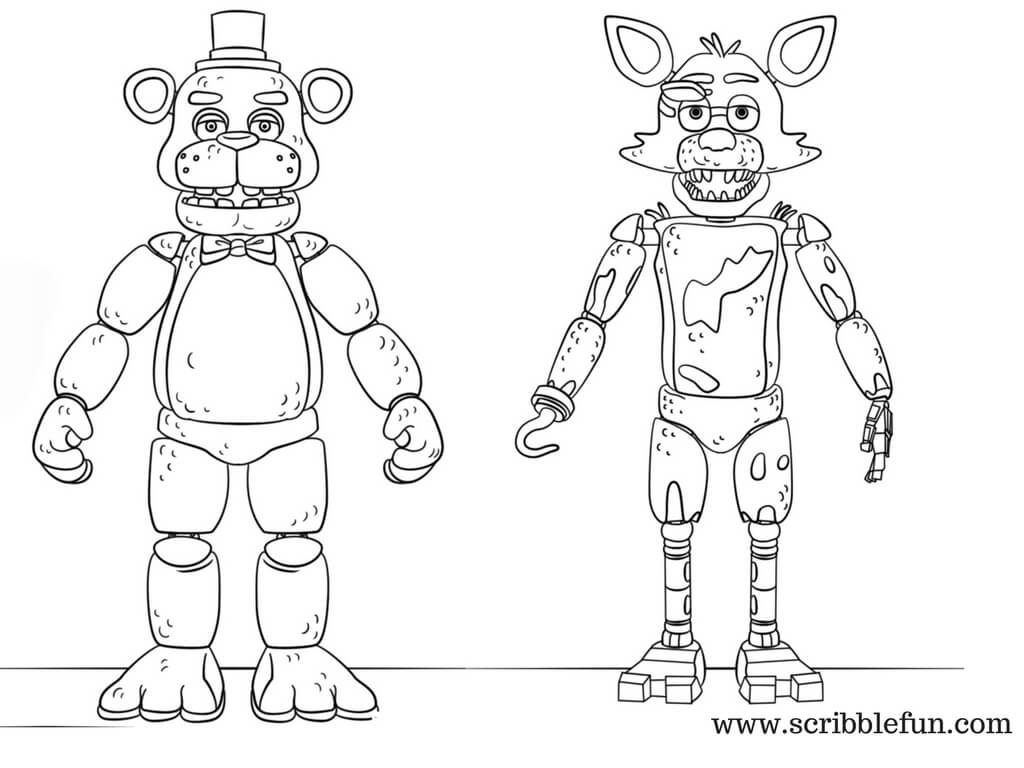 Toy Foxy And Toy Golden Freddy FNAF Coloring Page