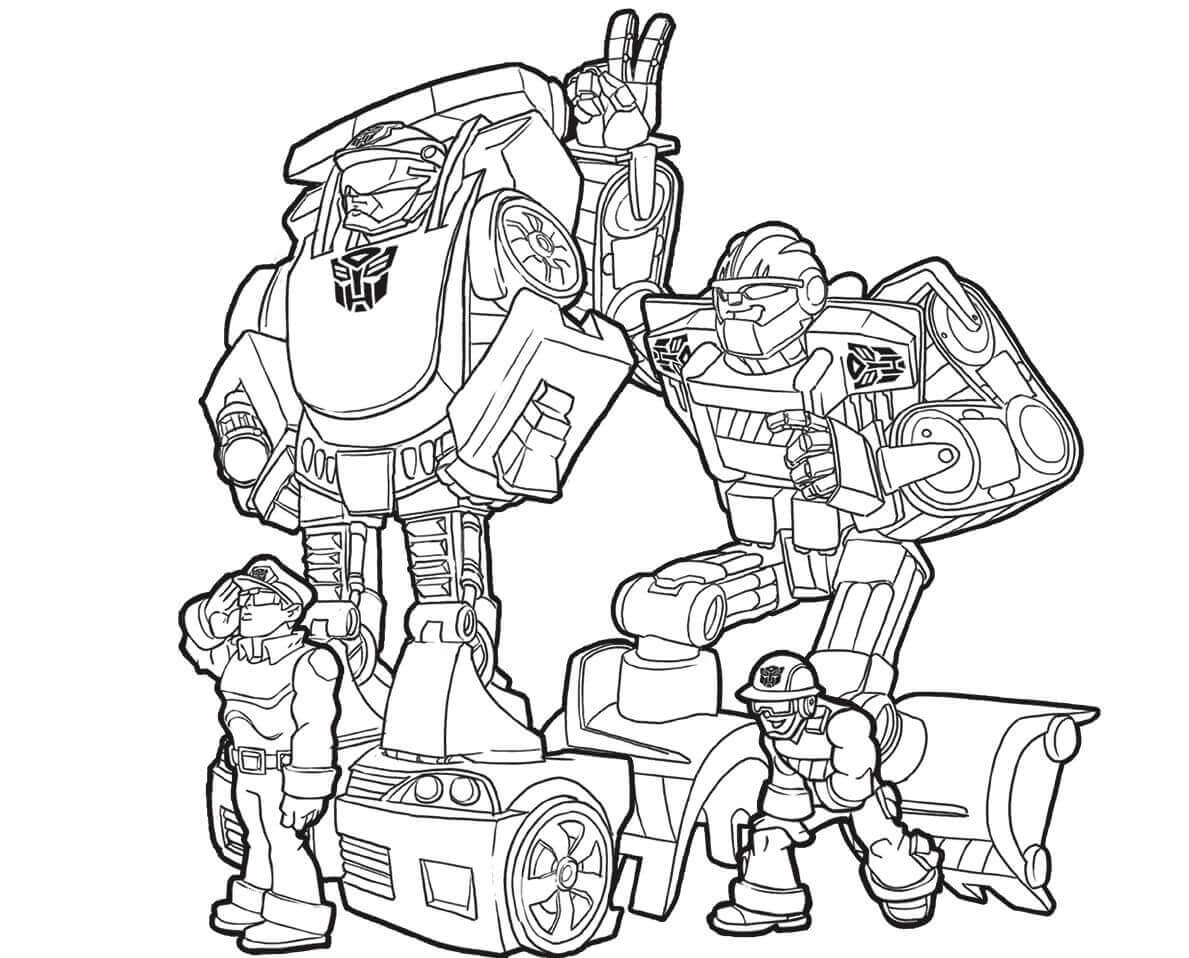 Transformers Rescue Bots Chase And Boulder Coloring Pages