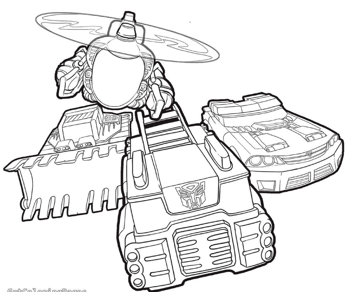 Transformers Rescue Bots Vehicles Coloring Page