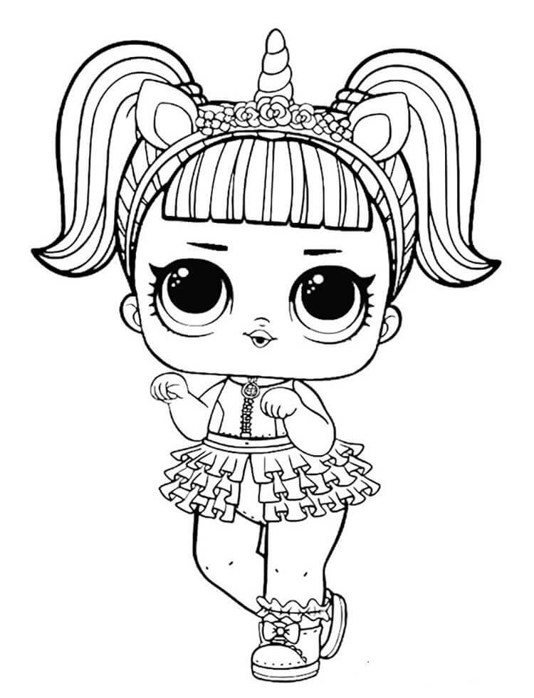 Unicorn Lol Doll Coloring Page