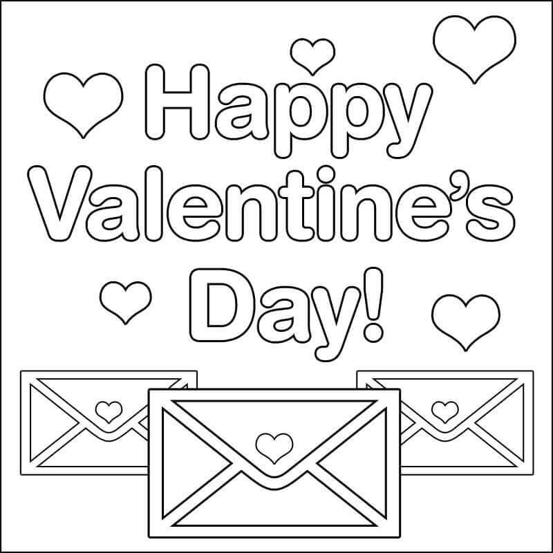 Valentines Day greeting cards coloring pages