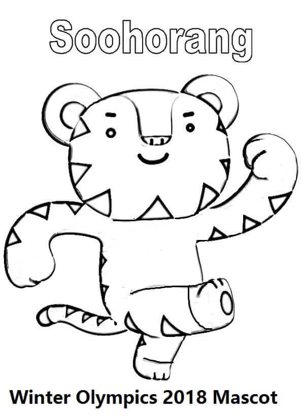 Winter Olympics 2018 Mascot Coloring Page Soohorang, Olympics 2018 Coloring Pages, 2018 Olympics Logo Coloring Pages, Winter Olympics 2018 Coloring Pages, PyeongChang 2018 Winter Olympics Coloring Pages To Print