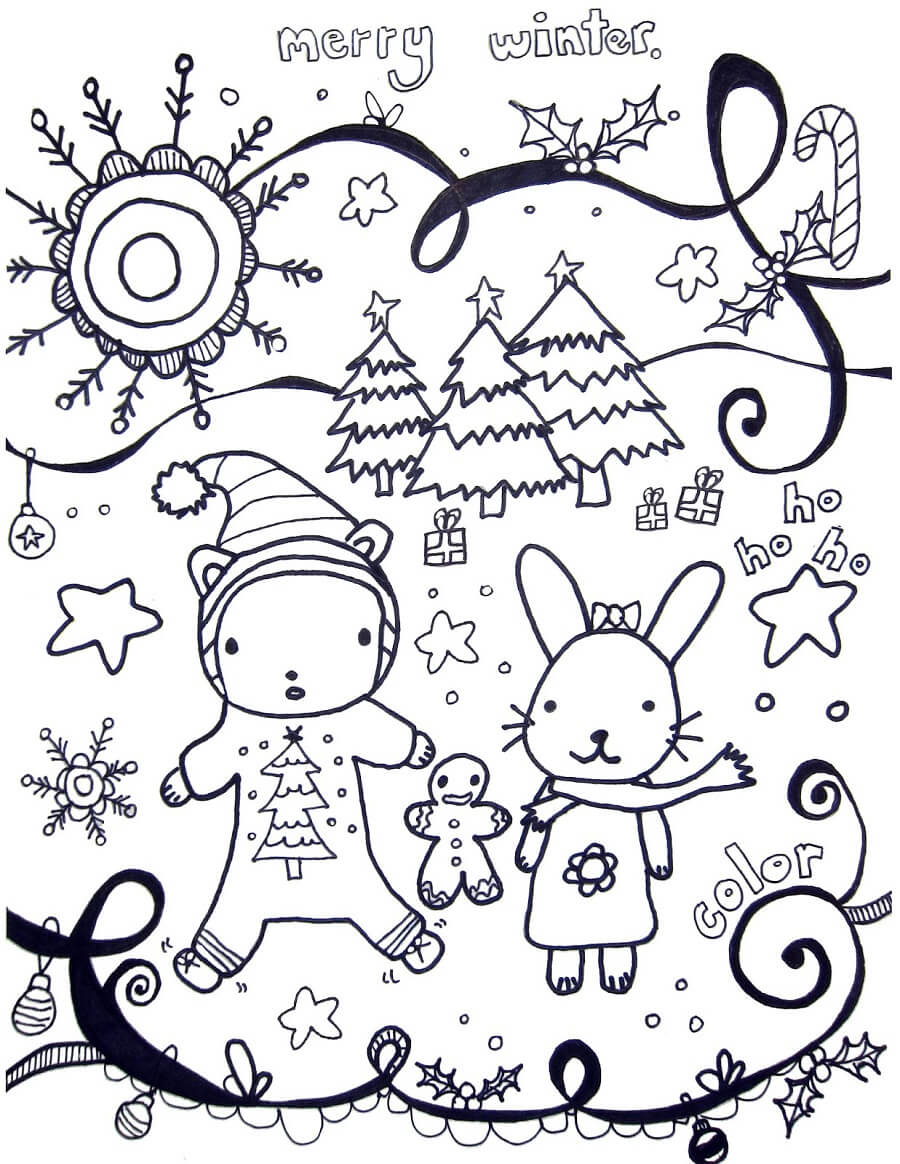 Winter Scene Coloring Sheets