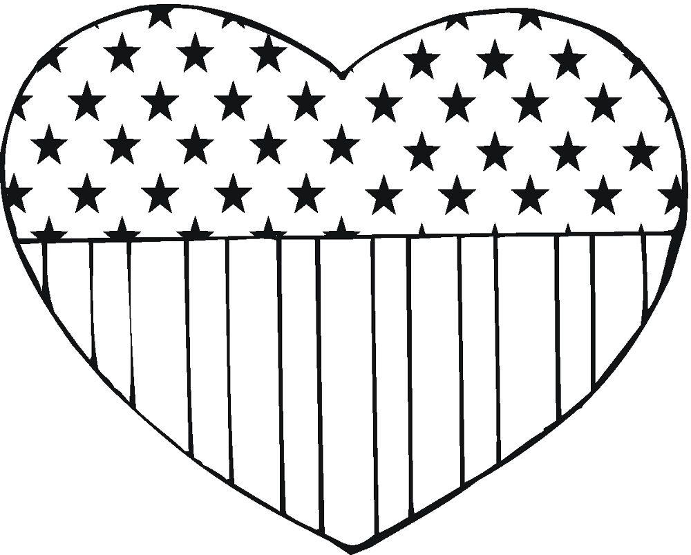 American Flag Hearts Coloring Page