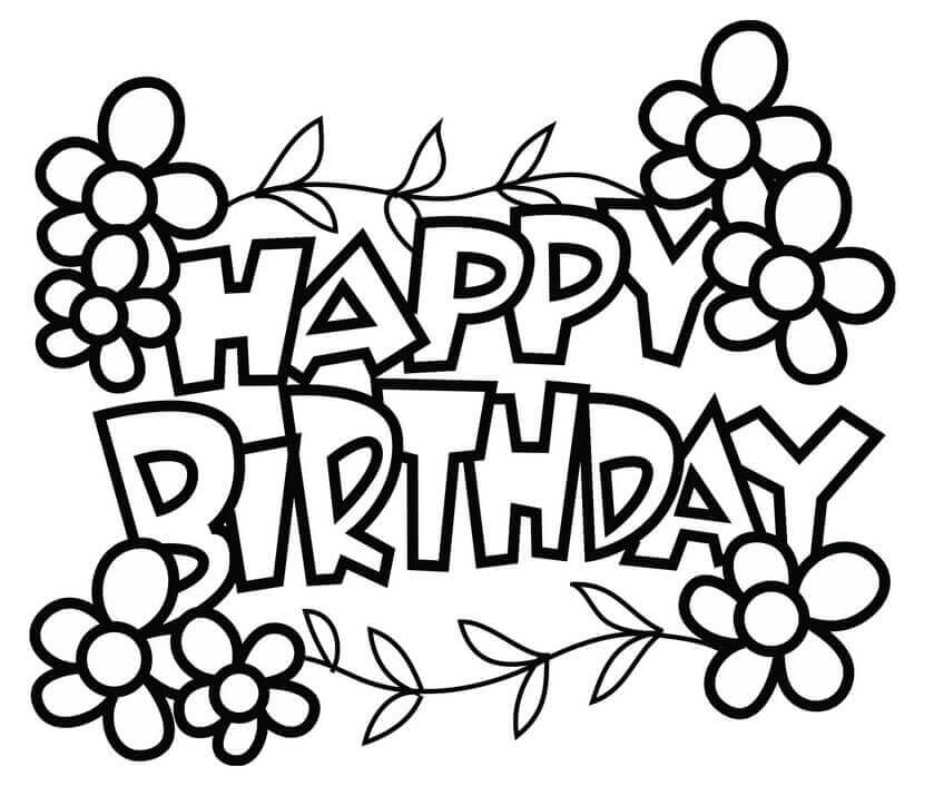 Happy Birthday Coloring Page Pages Free