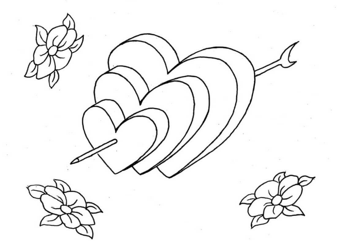 Bow And Heart Coloring Pages Free