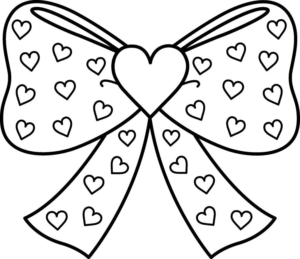 Bow With Hearts Coloring Pages Printable