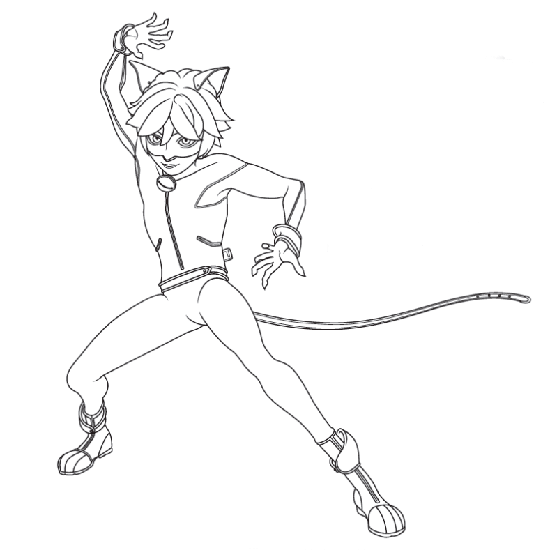 cat noir from miraculous ladybug coloring pages