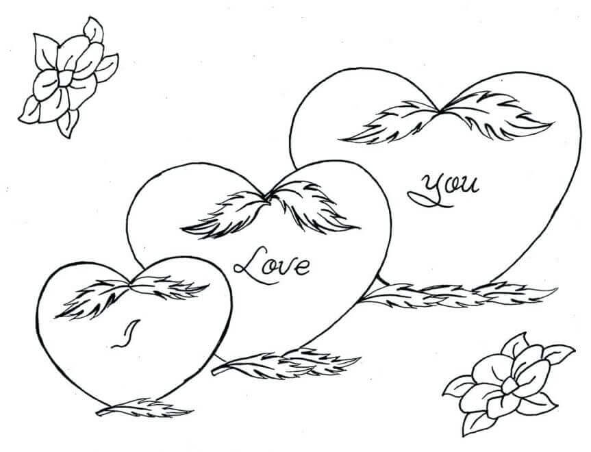 Coloring Pages Of Heart And Flowers For Valentines Day