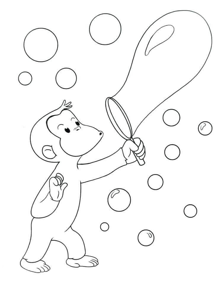 Curious George Blowing Bubbles Curious George Coloring Pages