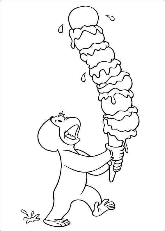 Curious George Enjoying Ice Cream Coloring Page