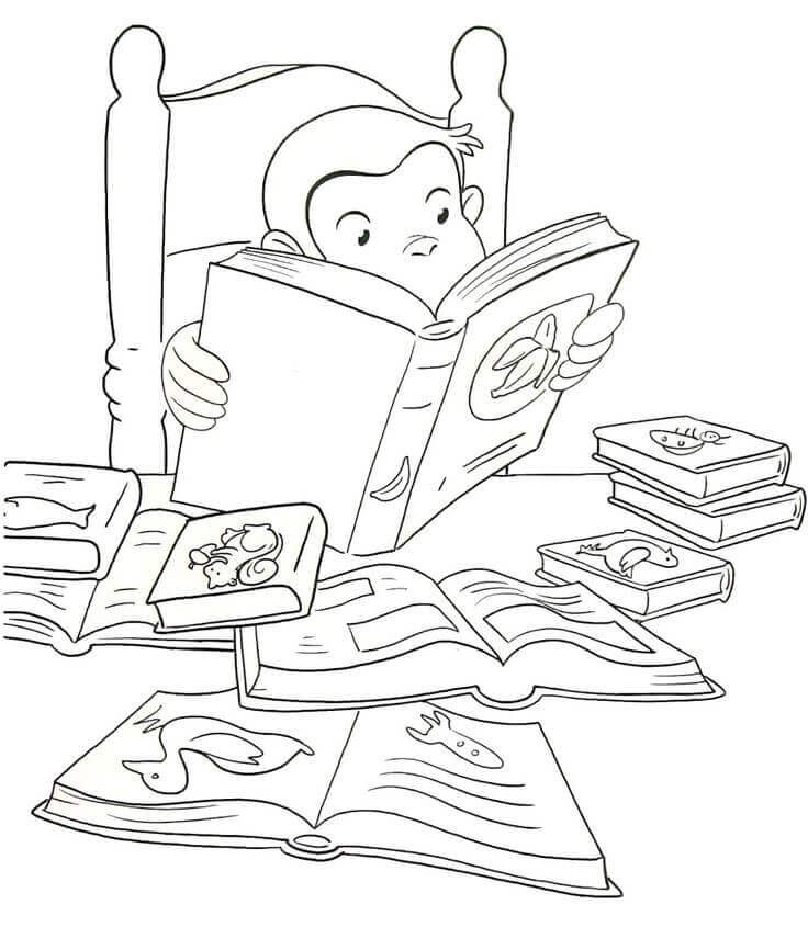 Curious George Reading Coloring Pages