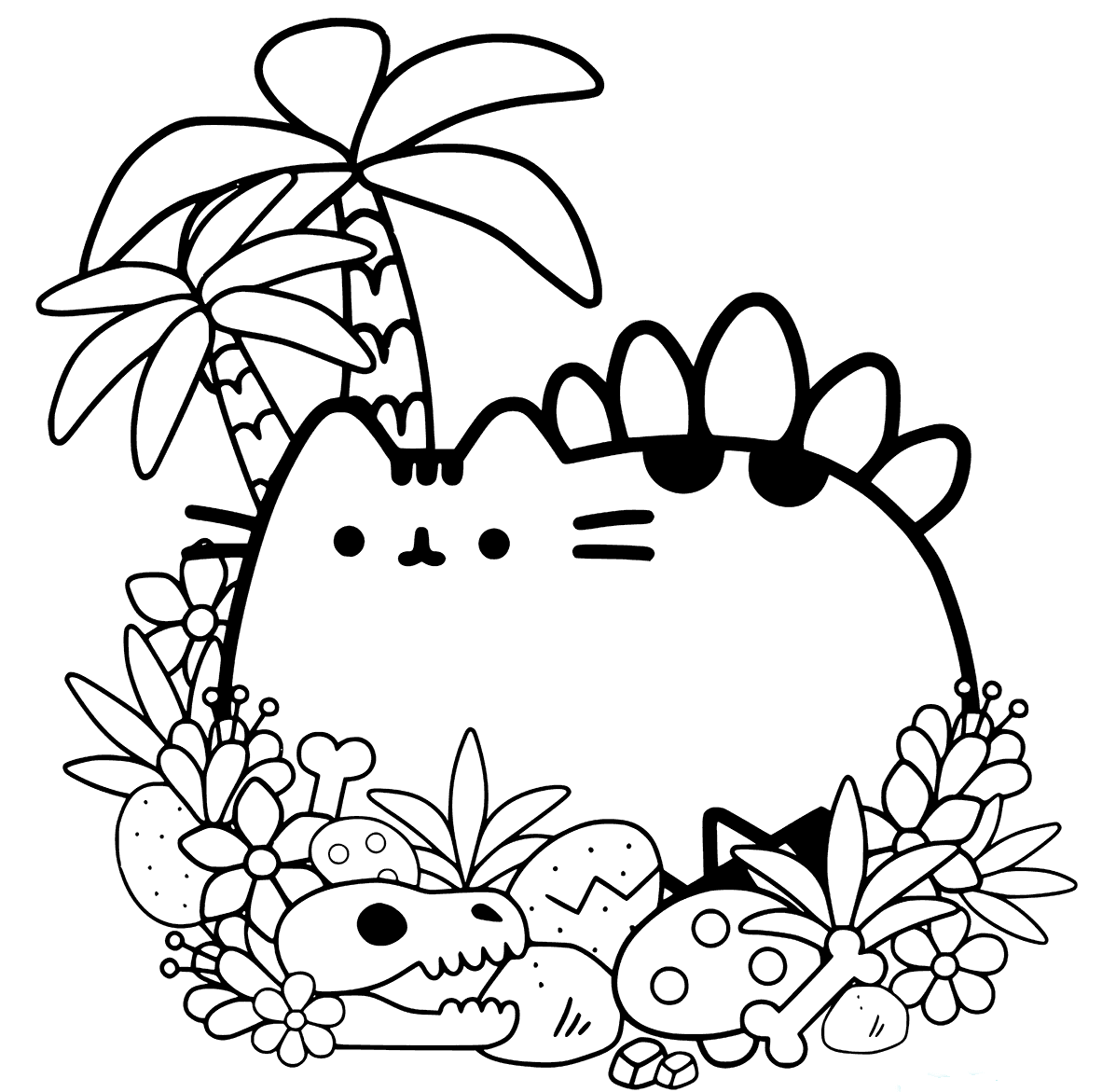Cute Pusheen Colouring Pages