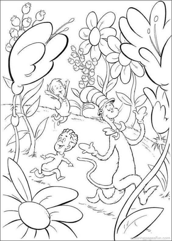 Dr Seuss Cat in the Hat Coloring Pages To Print