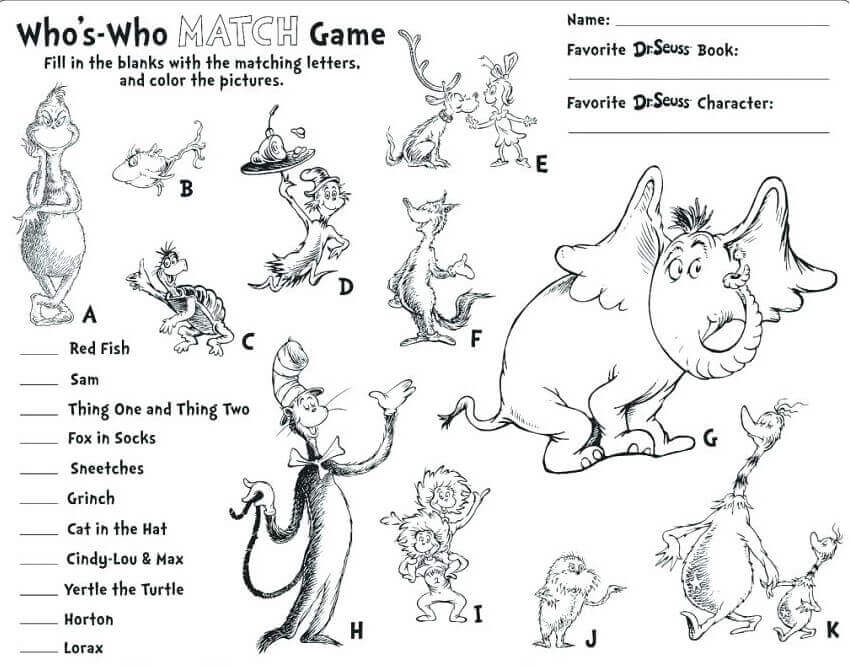 Dr Seuss Day Activity Sheets
