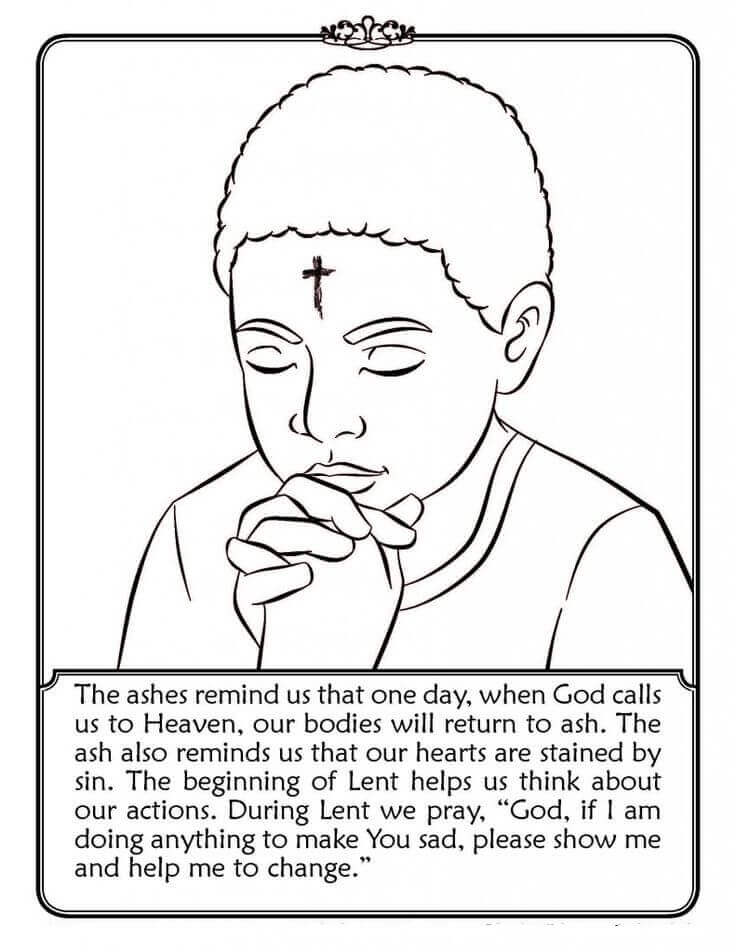 Free Lent Coloring Pages of Ash Wednesday