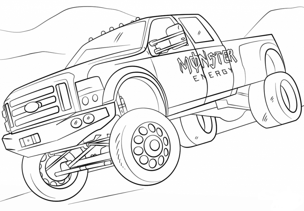 Monster engey free coloring pages for Free truck coloring pages