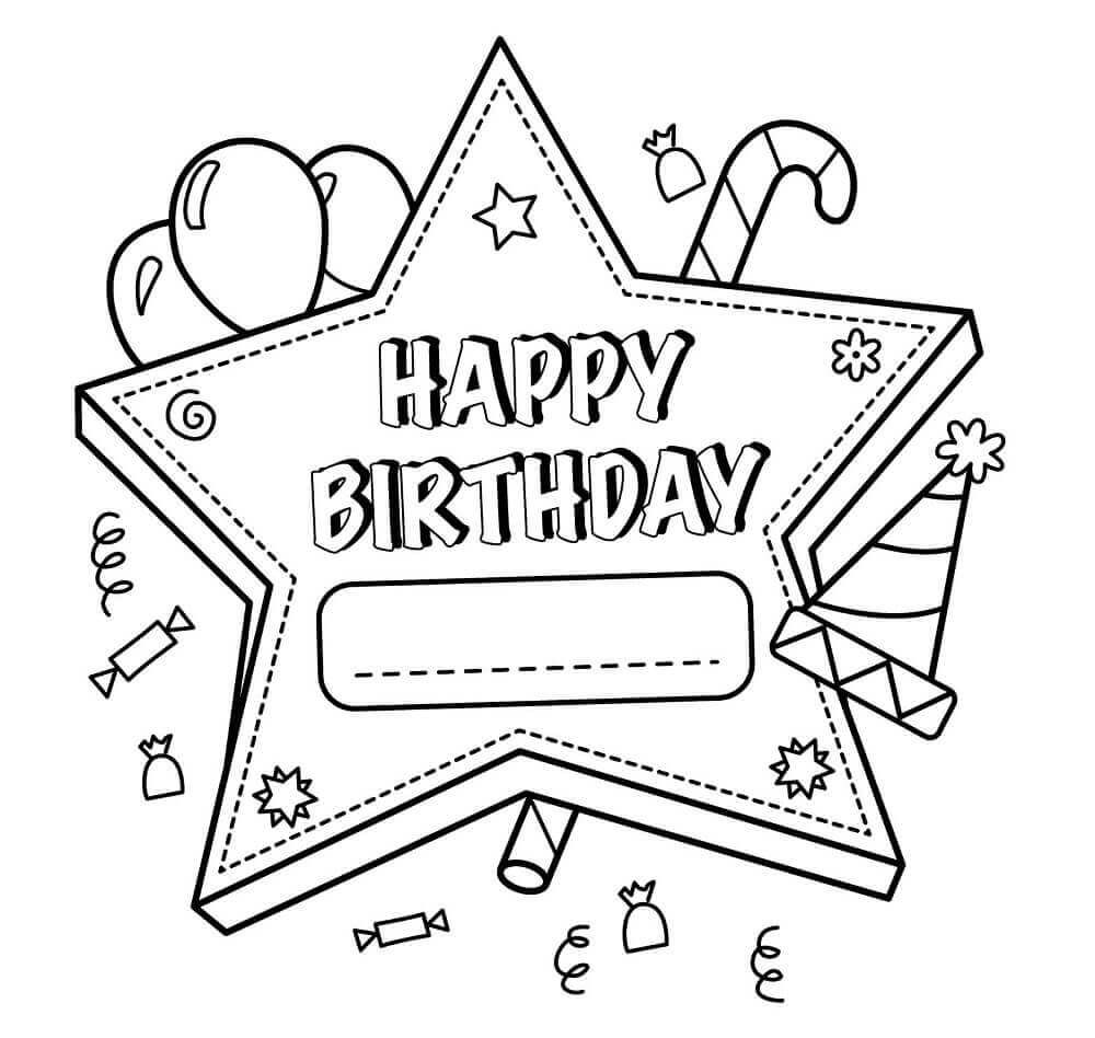 free printable happy birthday coloring pages for teachers - Birthday Coloring Pages