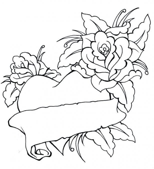Free Printable Heart And Flowers Coloring Pages