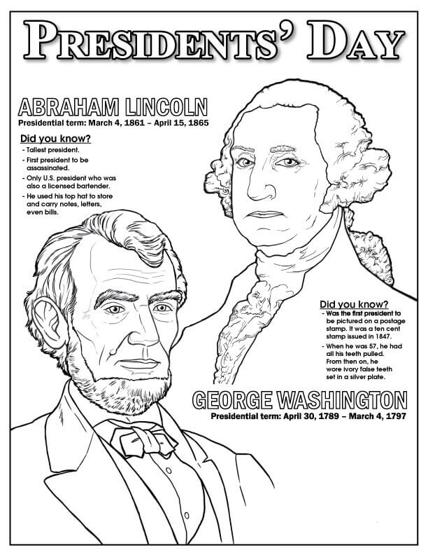 Free Printable President\'s Day Coloring Pages