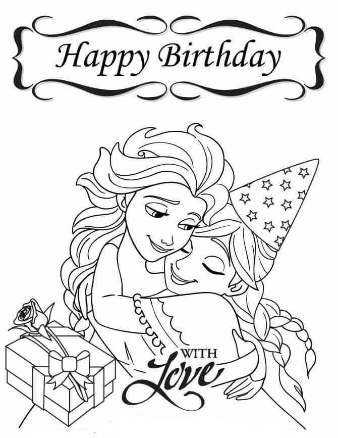Frozen Happy Birthday Coloring Pages For Sister