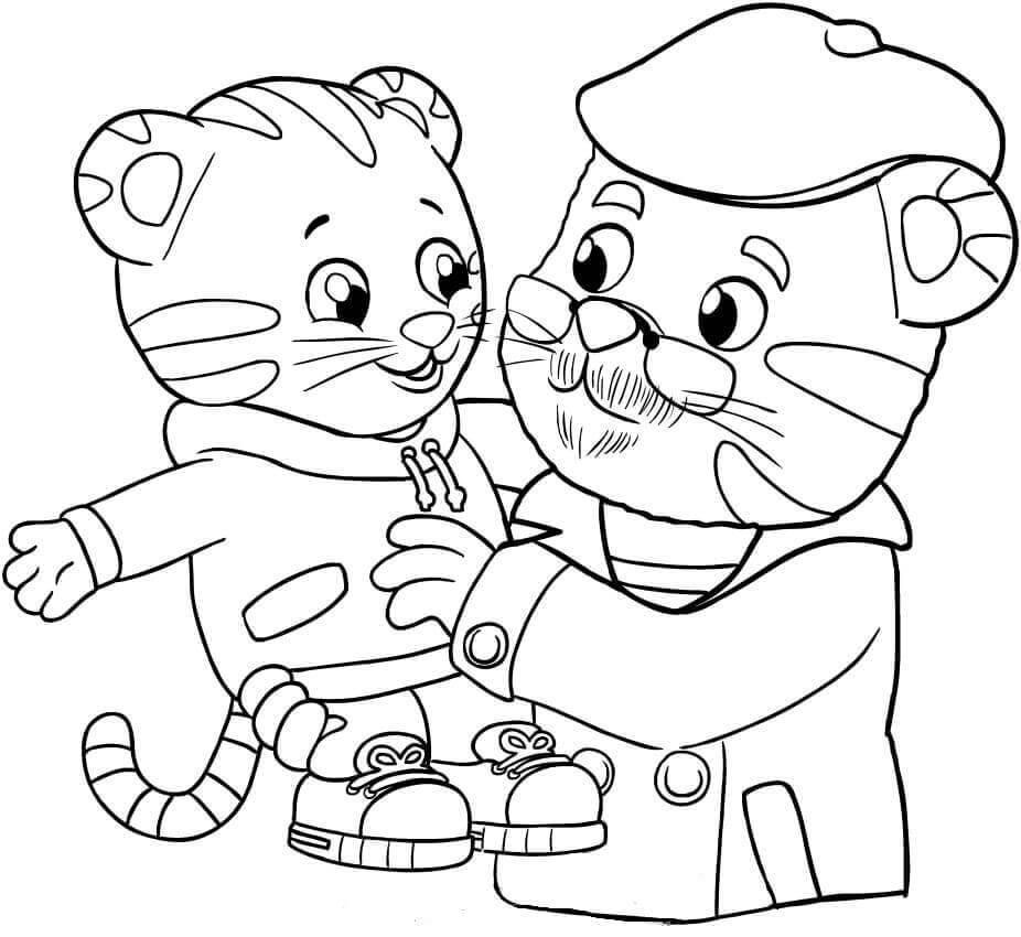 grandpere tiger and daniel tiger coloring pages - Daniel Tiger Coloring Pages