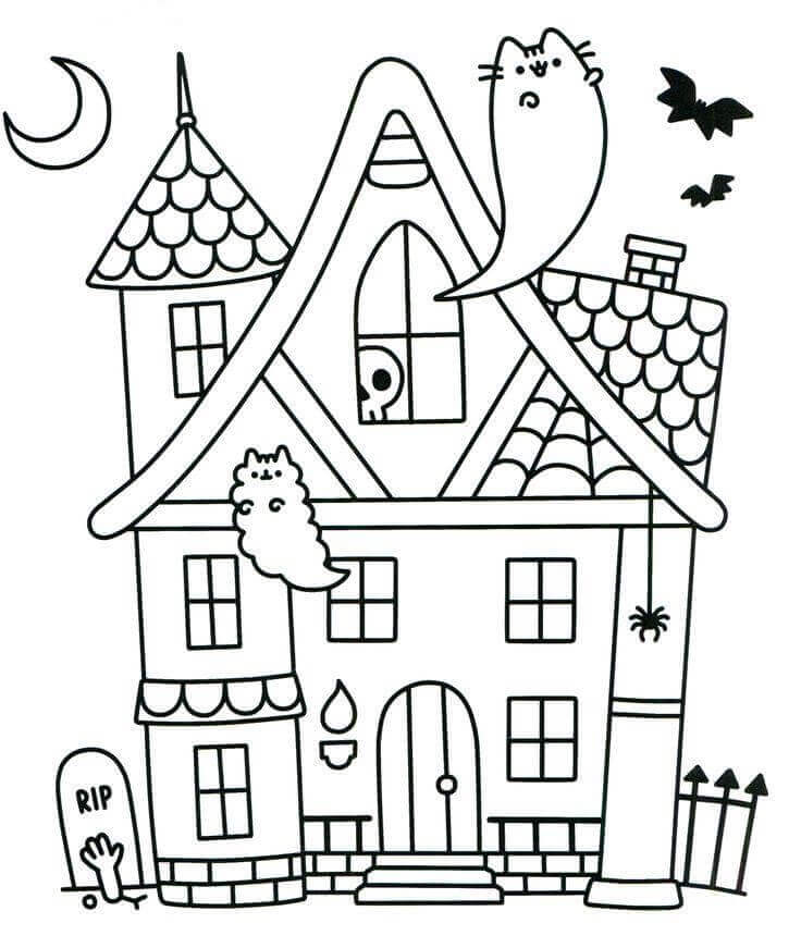 Halloween ghost pusheen coloring pages