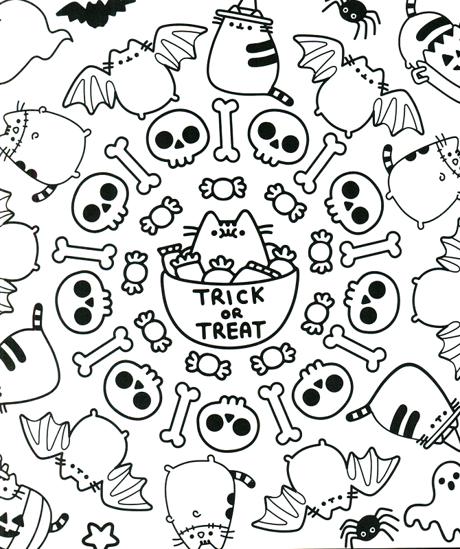 Halloween pusheen coloring pages