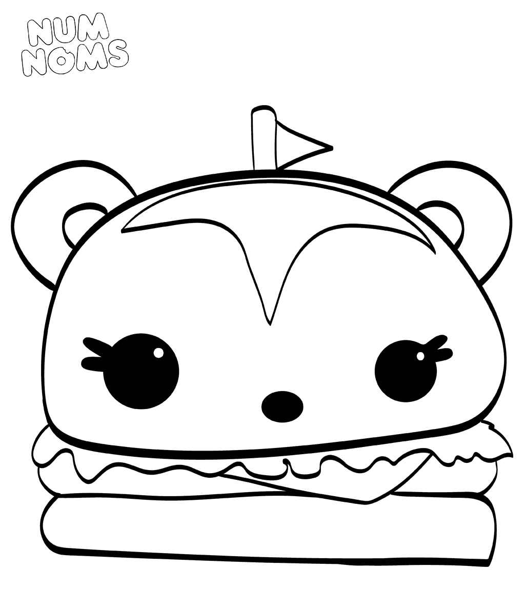 Hammy Burger From Num Noms Coloring Sheets