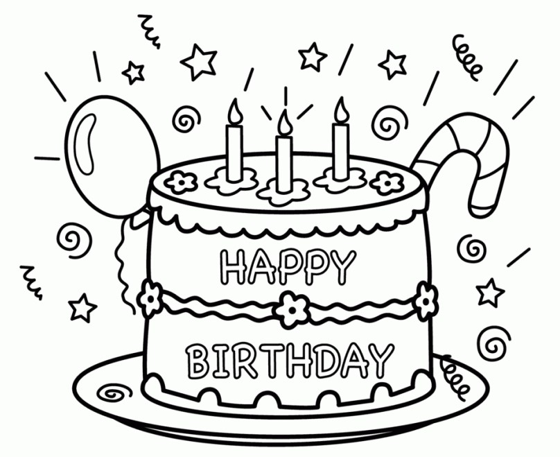 Birthday Cake Coloring Page Happy Pages
