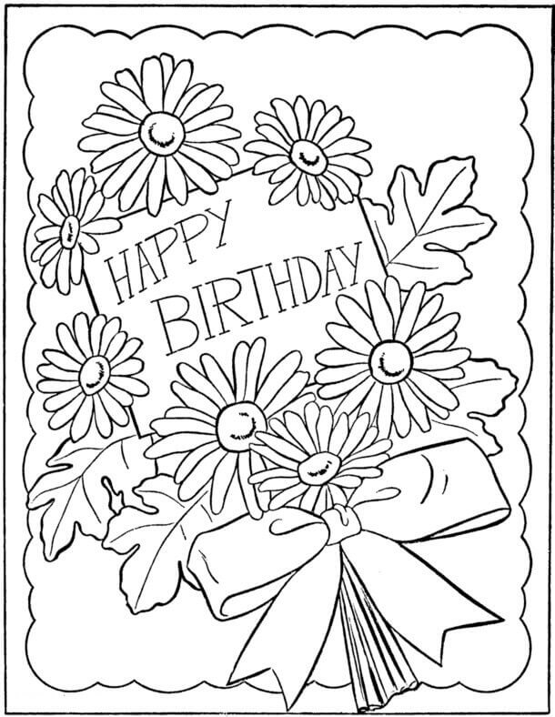 Happy Birthday Coloring Card