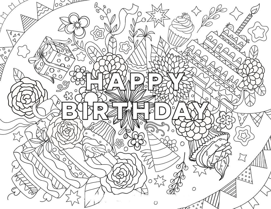 happy birthday coloring pages for adults - Birthday Coloring Pages