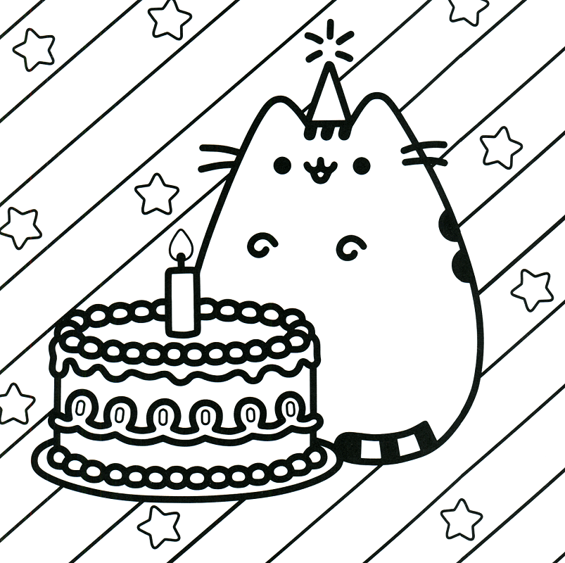 Happy Birthday Pusheen Coloring Page