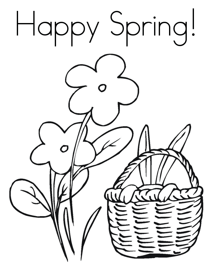 Happy spring coloring pages printable