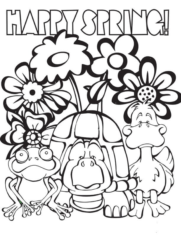Happy Spring Coloring Pages To Print