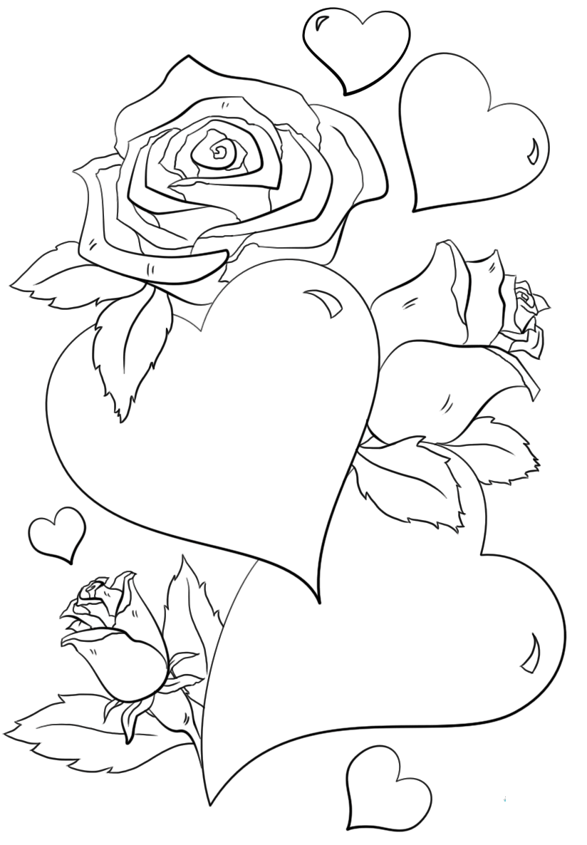 Butterflies And Hearts Coloring Pages