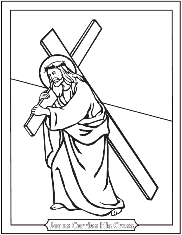 Jesus Carrying Cross Lent Coloring Pages