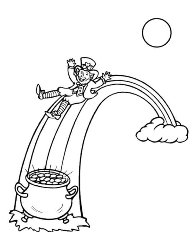 Free printable st patrick s day coloring pages for Pot of gold with rainbow coloring page
