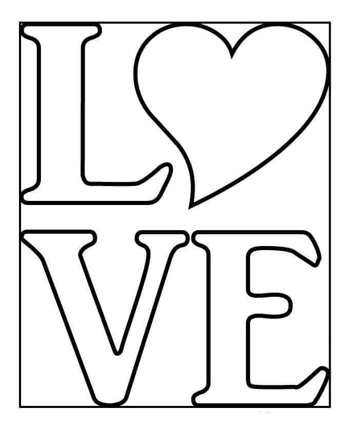 Love And Heart Coloring Page
