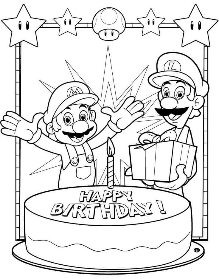 Mario Happy Birthday Coloring Pages For Brother