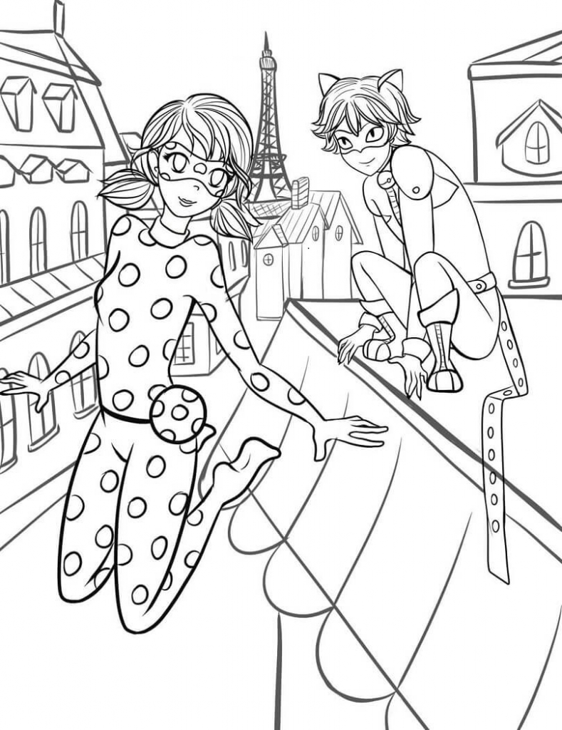 Miraculous Ladybug And Cat Noir Coloring Page: