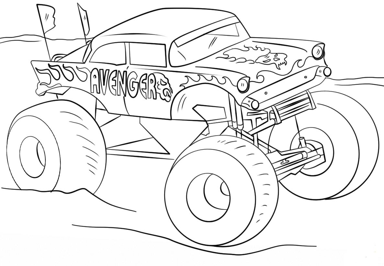 Monster Jam Coloring Pages Avenger Monster Truck - ScribbleFun
