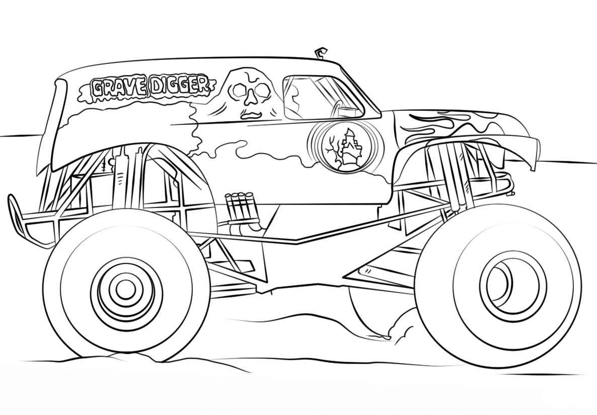 Monster Jam Coloring Pages Grave Digger Monster Truck
