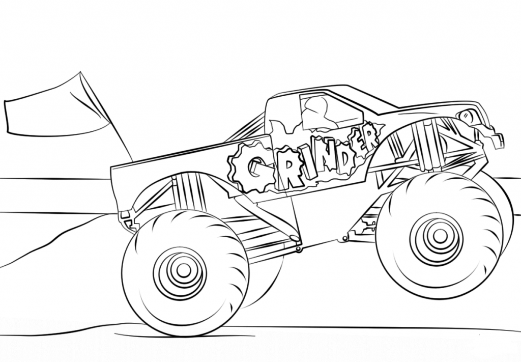 Monster Jam Coloring Pages Grinder Monster Truck