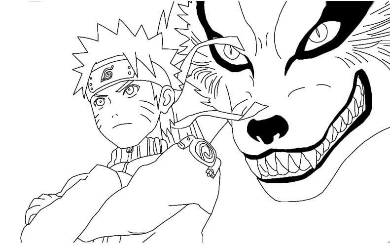 Naruto And- The Nine Tailed Fox Coloring Page
