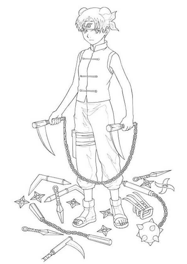 Naruto Coloring Pages Tenten Printable