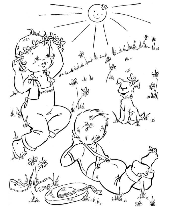 Outdoor Activity Spring Coloring Pages