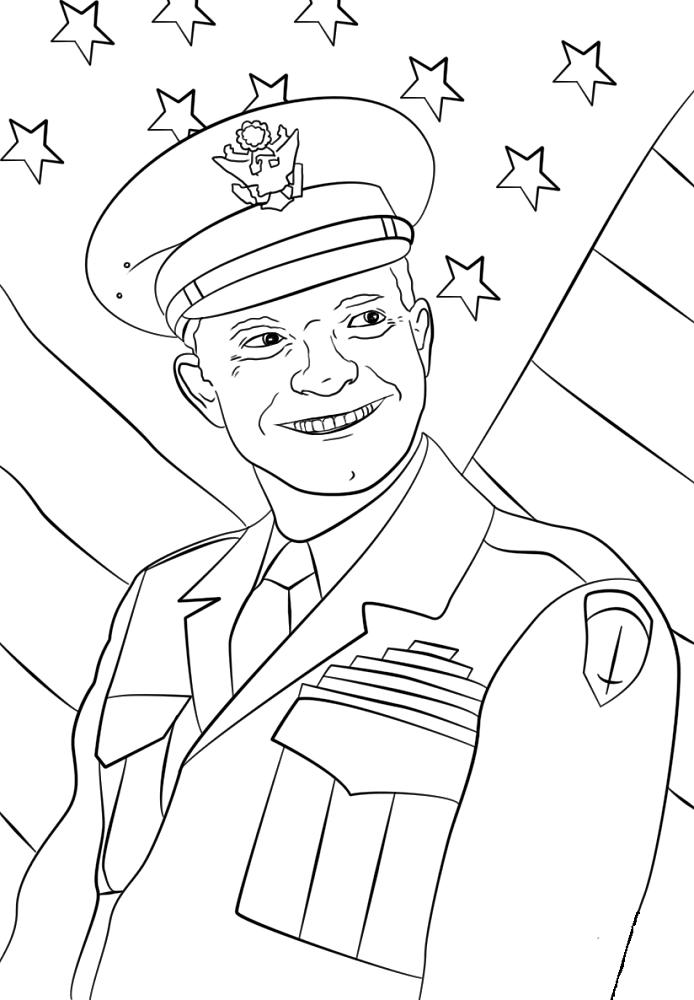 Presidents Day Coloring Pages General Dwight Eisenhower