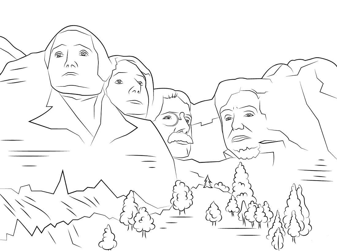 Presidents Day Coloring Pages Mount Rushmore
