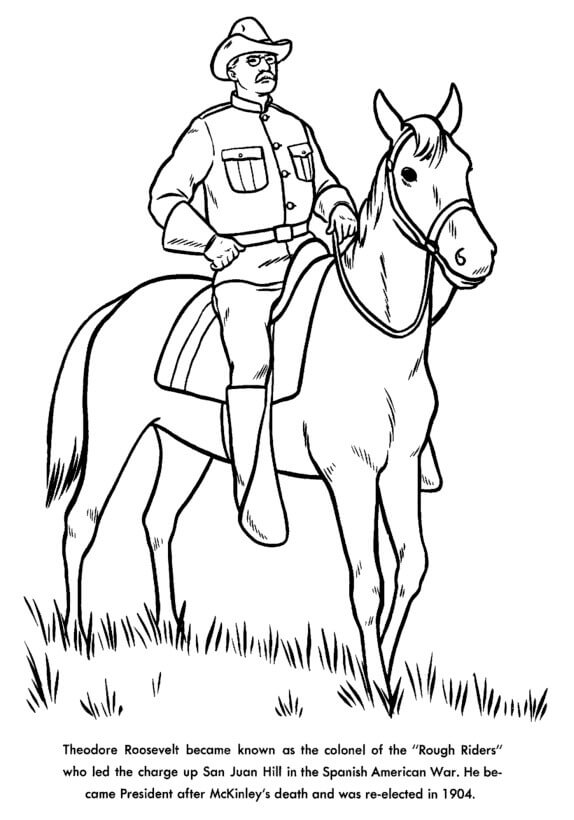 Presidents Day Coloring Pages Theodore Roosevelt